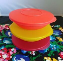 Lot Of 3 Tupperware Impressions Salad Cereal Bowls Lids Yellow Pink Peach 34708