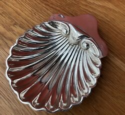 Edwardian Solid Silver Butter Shell Dish, Hm London 1906, 69grams