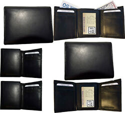 Lot Of 6 New Menand039s Black Leather Trifold Wallet 6 Credit Cards 2 Billfolds Bn