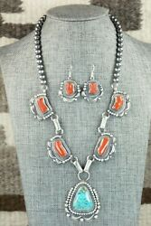 Turquoise, Coral And Sterling Silver Necklace And Earrings Set - Tom Lewis