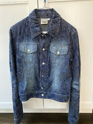 Vintage Versace Jeans Couture Woman Jacket- Blue Crystals Beads Size 42 Xs/ S