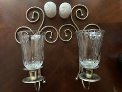 2 Homco Home Interior Swirl Candle Sconces, Votives, Candles