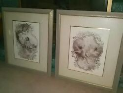 2 Angel Cherub Framed Wall Pictures Excellent Shape Lovely Decor Prints