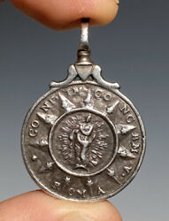Early Antique Silver Jesuit Religious Medal Prayer Pendant 17th/18th Century