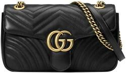 Marmont Small Black Leather Matelasse Gold Chain Shoulder Crossbody Bag