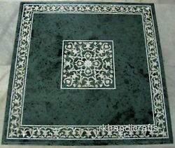 36 Inches Green Marble Kitchen Table Top Royal Dining Table With Mop Inlay Art
