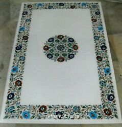 30 X 48 Inches Marble Conference Table Top Multi Gemstones Art Coffee Table Top