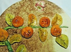 Rare French Majolica Longchamp Plater Dish With Apricots