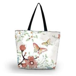 Tote Bags Travel Beach Totes Bag Shopping Zippered for Women Foldable White $21.95