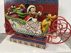 14andrdquo Jim Shore Disney Mickey Pluto Christmas Sleigh Toy Bag Laughing All The Way
