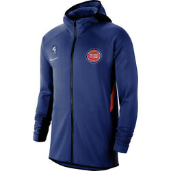 Brand New Nba Nike Detroit Pistons Therma Flex Showtime On Court Bench Hoodie