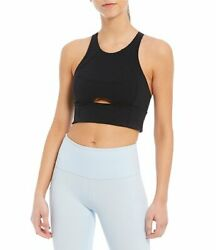 Free People 29710 Womens Black Movement Roll With The Punches Sports Bra Size M