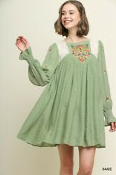 Sml Umgee Sage Floral Embroidered Keyhole Dress/tunic Bhcs