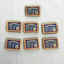 Lot Of 7 Vintage Independence Safety Matches Diamond Wood Boxes Wood Matches
