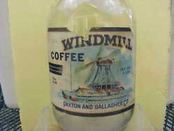 Old Windmill Coffee Jar Like Tin Can Paxton Gallagher Omaha Ne Exc Graphics