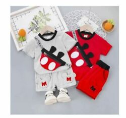 12m-5t Set Clothes Children Mickey Suit Kids Wear Toddler Gift Tshirt And Shorts
