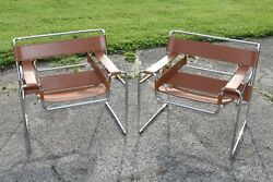 2 Beautiful Chairs  Cognac Wassily B3 Chairs By Marcel Breuer Rare