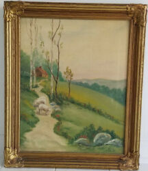Antique Landscape W/ Sheep Oil Painting Signed Dick Fosen Andlsquo34 Gilt Frame 24x20andrdquo