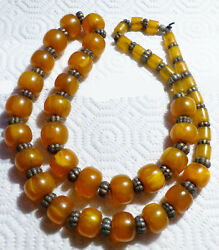 Old Natural Butterscotch Egg Yolk Baltic Chinese Tibet Amber Silver Necklace