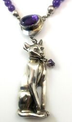 Rare Carol Felley Signed Amethyst And Sterling Silver Cat Necklace Cdf