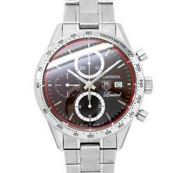 Tag Heuer Carrera Chronograph Cv201d Red Dial Automatic Mens Watch 90129021
