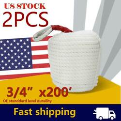 2pack 3/4inch 200ft Twisted Anchor Rope Boat Dock Line Marine Mooring Yacht Rope