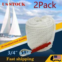 2x 3/4inch 150ft Twisted 3 Strand Anchor Rope Boat Mooring Marine Line W/thimble