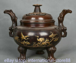 11.6 Marked Old China Red Copper Gilt Palace Crane Pine Tree Incense Burners