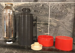 Vtg Aladdin Dura Clad Vacuum Bottle Quart Thermos 2650 Red/gray Old - As Is