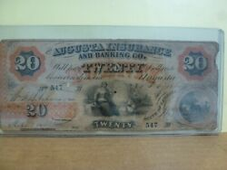 1860 The Augusta Insurance And Banking Co. - Georgia 20. Obsolete Note 547