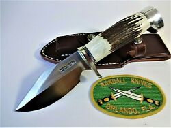 Randall Knife Model 19-4.5 Ss Bushmaster Stag Handle Ns Hilt And Crows Beak Cap