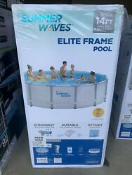 Summer Waves 14ft X 42in Elite Frame Pool Wfilter Pump Cover And Ladder Ships Free