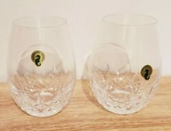 Waterford Lismore Nouveau Stemless Crystal Deep Red Wine Glasses 22 Oz Set/2 Nwt