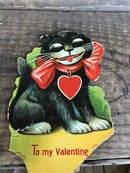 Vintage To My Valentines Interactive Damaged Black Cat Germany