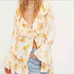 Free People Loretta Tunic Top Floral Blouse Tea Combo Ruffle Bell Sleeves Size M