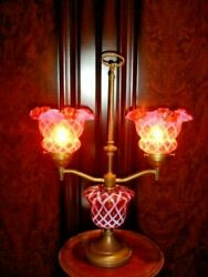 Fenton Cranberry Optic Opalescent Double Student Style Glass Lamp