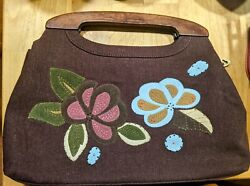 Vintage Forever by FOSSIL Handbag. Brown Embroidered Floral Faux Suede. EUC