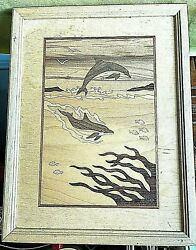 """Vintage Hudson River Inlay Artwork Marquetry 12.75"""" X 9.75"""" Dolphins Signed"""