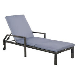 Outsunny Rattan Wicker Chaise Sun Lounger Garden W/ Adjustable Backrest And Wheels