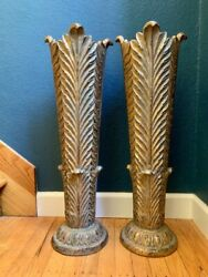 Vintage Gilded Floral Vases Pair Wood Tapered Tall Rare Wedding Centerpiece