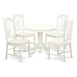 East West Furniture Antique Wood 5-piece Dining Set In White Finish Ando5-lwh-w
