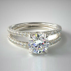 1.50 Ct Natural Diamond Solid 14k White Gold Bridal Engagement Ring Size 6 7 5 4