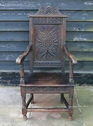 Antique 17th Century Solid Oak Wainscot Chair With Hand Carved Detailing