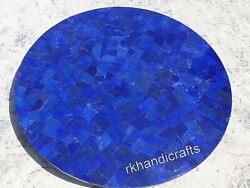 36 Inches Marble Kitchen Table Top Blue Stone Random Work Elegant Dining Table