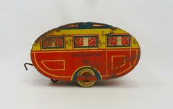 Vintage 1940's Marx Lonesome Pine Travel Trailer - Tin Toy Pull Behind