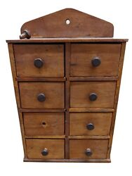 8 Drawer Vintage Primitive Wooden Spice Cabinet Box Cupboard Apothecary Chest