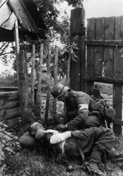 Ww2 Photo Wwii German Medic With Wounded Comrade Wehrmacht World War Two / 2508