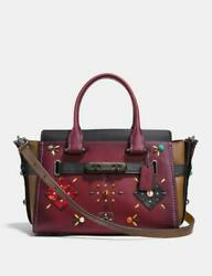 Coach Swagger 27 Colorblock Patchwork Prairie Rivets Studs Wine Rare