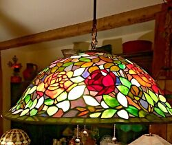 25 Slag Quoizel Collectible Style Stained Glass Pendant Lamp 3 Cluster
