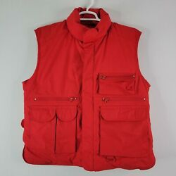 Eddie Bauer Goose Down Fishing Hunting Multipocket Field Vest Red Menand039s L Large